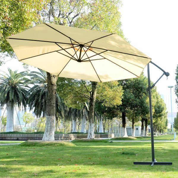 Outsunny 3m Hanging Cantilever Umbrella Parasol - Black, Cream or Green