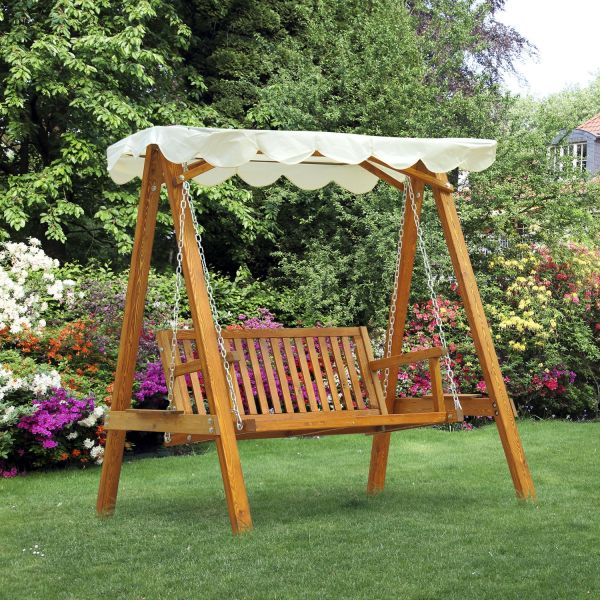 Outsunny 2-Seat Wooden Hammock Swing Bench - Cream
