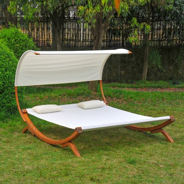 Outsunny Wooden Hammock Chaise Sun Bed Lounger