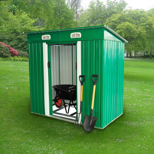 Outsunny 4 x 6FT Pent Roof Metal Garden Storage Shed