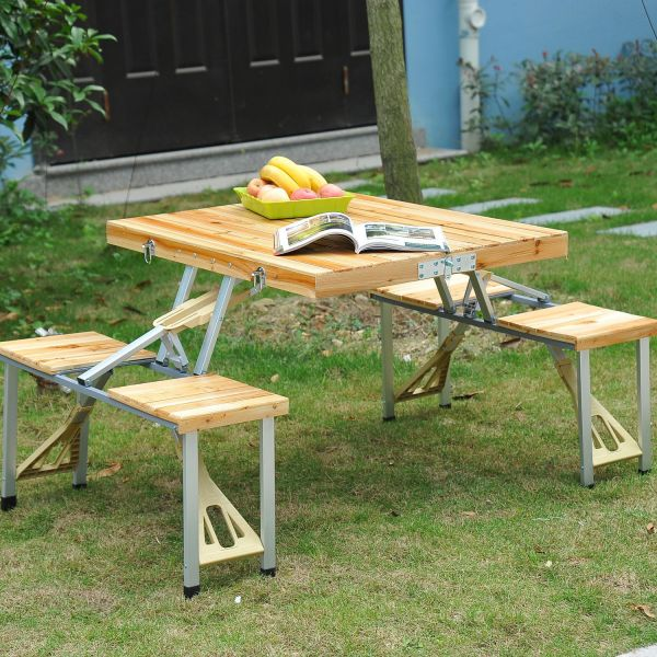 Outsunny Portable Wooden Folding Camping Table & Stool Set