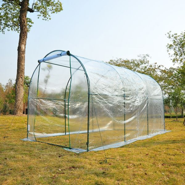 Outsunny Large Steel Frame Walk in Dome PVC Greenhouse