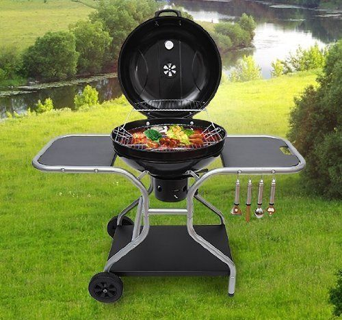 Outsunny Deluxe Charcoal BBQ Trolley Grill - Black