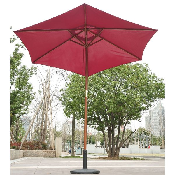 Outsunny 2.5m Wooden Parasol Umbrella - Red Wine or Coffee