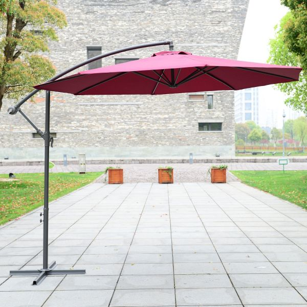 Outsunny 3m Banana Hanging Cantilever Parasol - Red Wine or Coffee