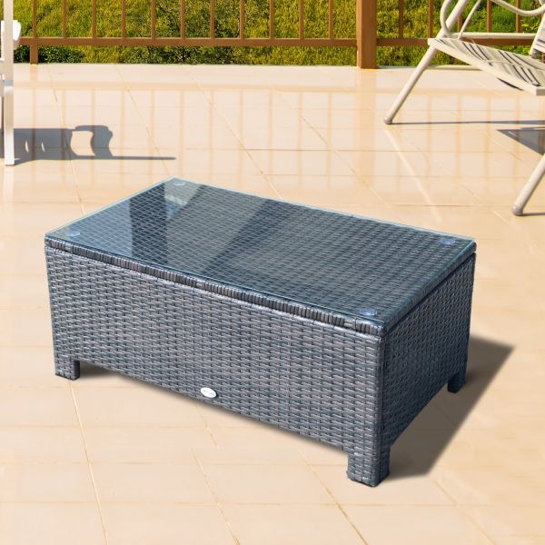 Outsunny Outdoor Rattan Glass Coffee Table - Brown or Black