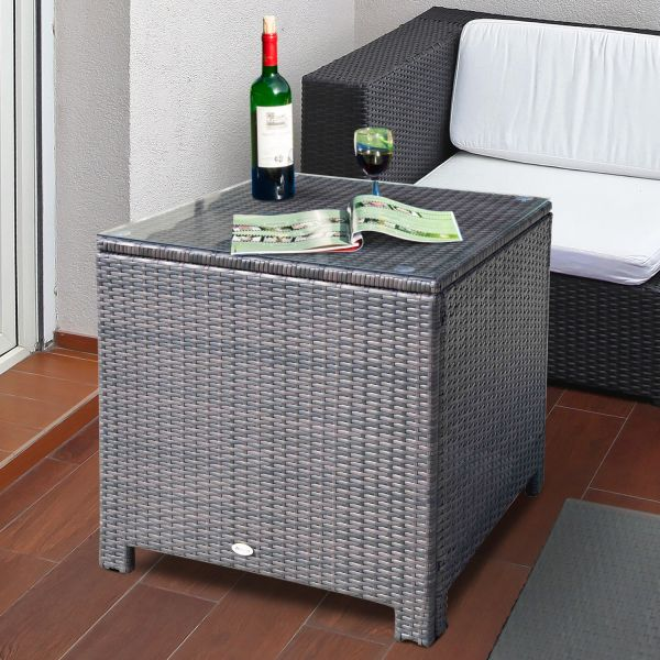 Outsunny Outdoor Rattan Glass Side Table - Brown or Black