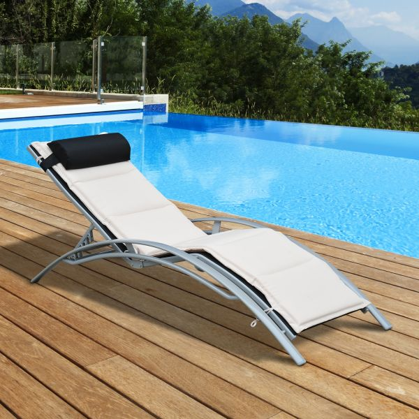 Outsunny Adjustable Outdoor Sun Lounger - Black