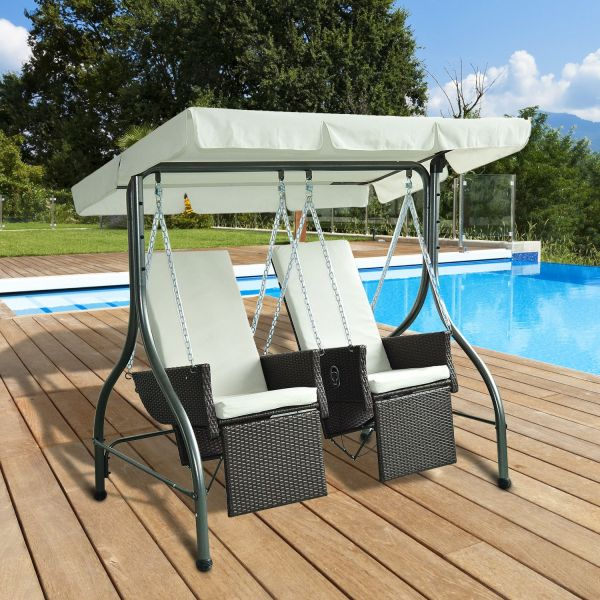 Outsunny 2-Seat Rattan Hammock Swing Chairs - Black or Brown