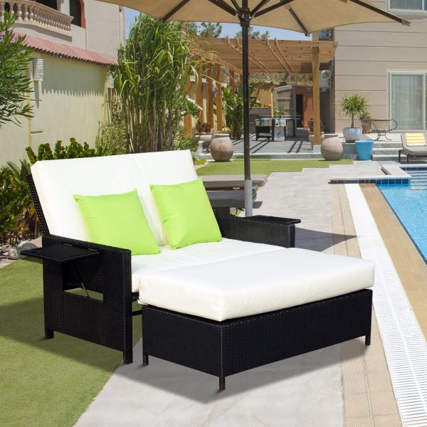 Outsunny 2 Seater Garden Sun Lounger Bed - Black