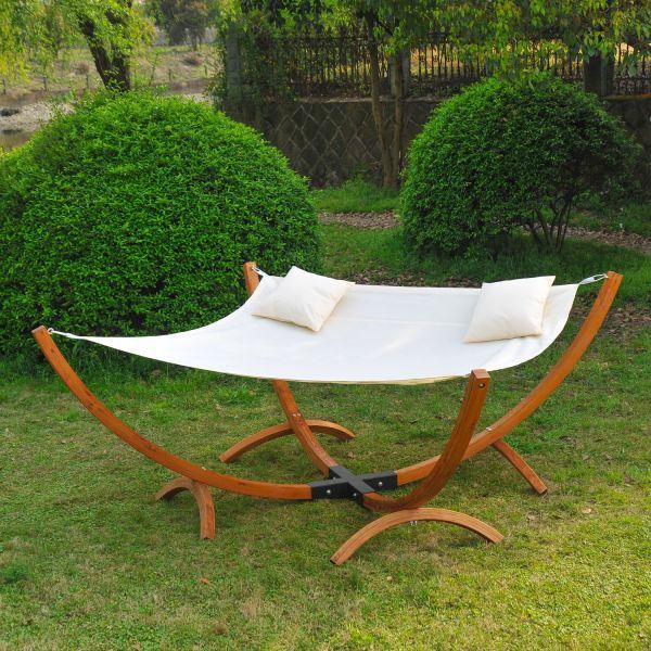 Homcom Larch Wood Garden Hammock Sun Lounger Bed