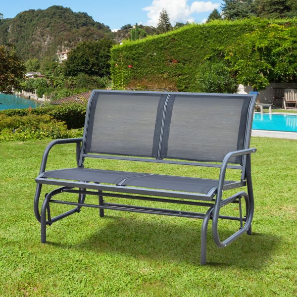 Outsunny 2-Seat Glider Swing Bench - Black