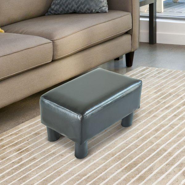 Homcom Black PU Leather Footstool