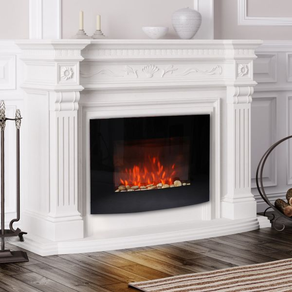 HOMCOM Large LED Curved Glass Electric Fire Place