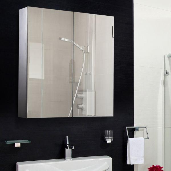 Homcom 2-Door Mirrored Bathroom Storage Cabinet