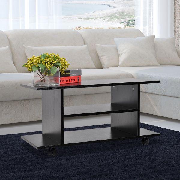 Homcom Mobile 2-Tier TV Cabinet Stand - Black or White