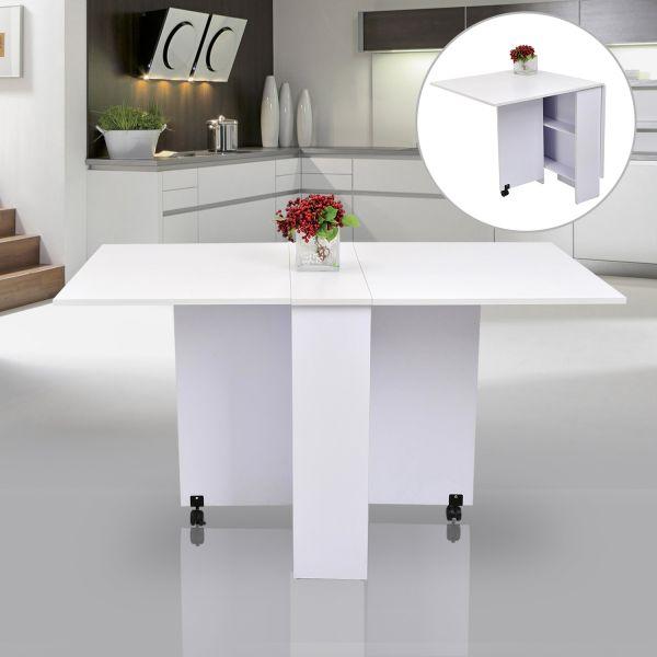 Homcom Mobile Drop Leaf Dining Table - White