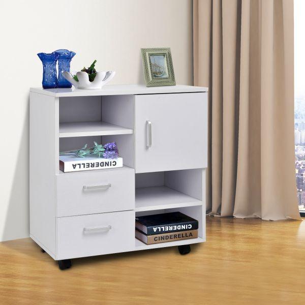 Homcom 2-Drawer Mobile Sideboard Storage Shelf Cabinet - White