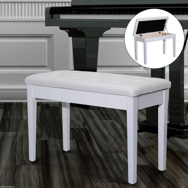 Homcom Faux Leather Piano Stool White