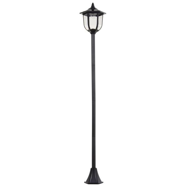 Outsunny Free-Standing ABS Garden Solar LED Lamp Post - Black