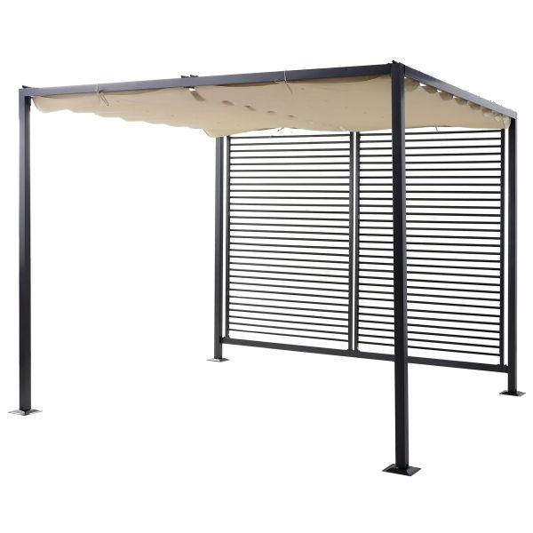 Outsunny Retractable Metal Frame Outdoor Garden Pergola - Beige
