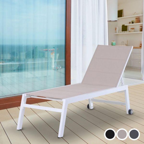 Outsunny Aluminium Frame Outdoor Garden Sun Lounger with Wheels - 3 Colours