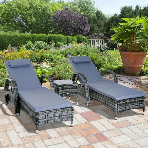 Elegant Rattan Garden Day Bed Set - Grey
