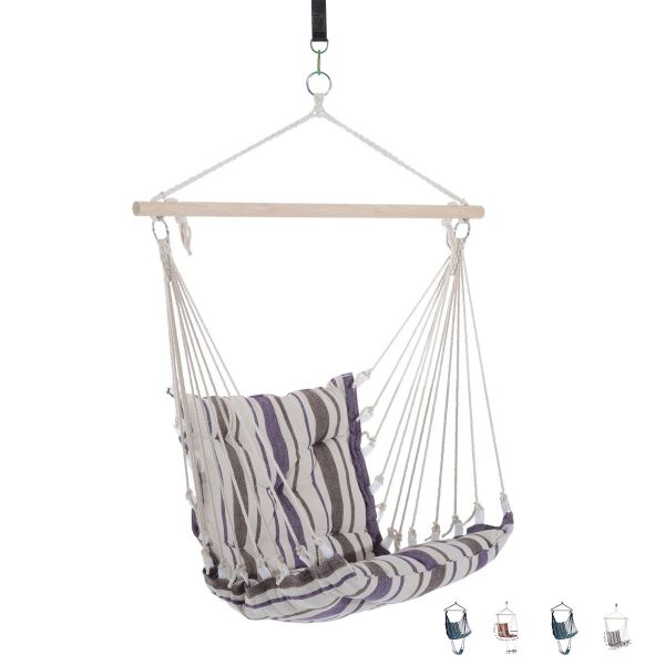 Outsunny Hardwood Cotton and Polyester Hammock Chair - 4 Colours