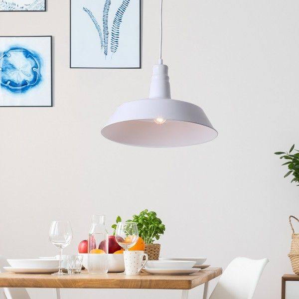 Homcom Metal Pendant Ceiling Lamp - White