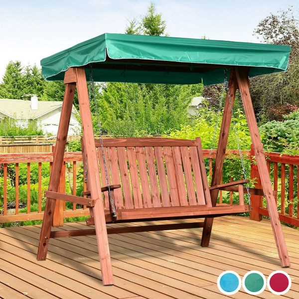 Outsunny Fir Wood 2-Seater Outdoor Garden Swing Chair with Canopy - 3 Colours
