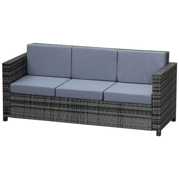Outsunny 3-Seater Weather Resistant Outdoor Garden Rattan Sofa - Grey