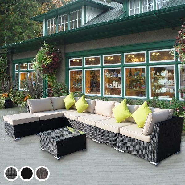 Outsunny 7-Seater Outdoor Garden Rattan Furniture Set with Coffee Table - 3 Colours