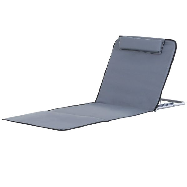 Outsunny Steel Frame Set of Two Reclining Beach Mats - Grey