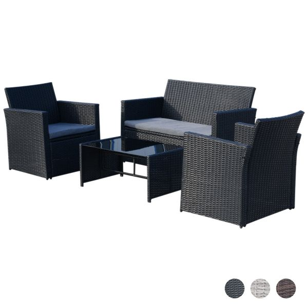 Outsunny 4-Seater Outdoor Garden PE Rattan Sofa Set with Coffee Table - 3 Colours