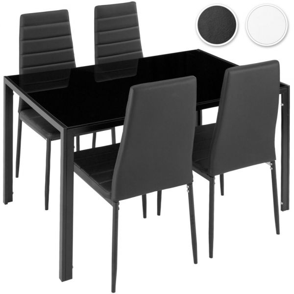 Faux Leather Dining Table With 4 Chairs and Seat Cover - 2 Colours