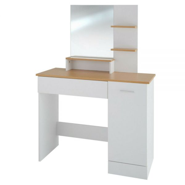 Modern Dressing Table with Mirror and Drawers - White Colour