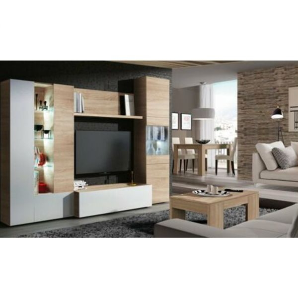 Stylish Melamine TV Unit Essential With Glass - Oak+White
