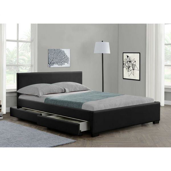 Faux Leather Bed Frame 4 Drawers Storage with Mattress Options - 2 Sizes