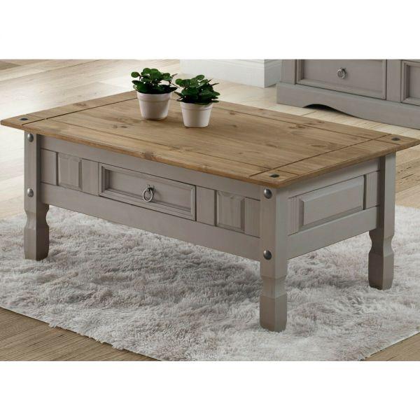 Corona Coffee Table Solid Pine 1 Drawer - Grey Wax