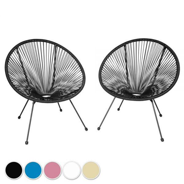 Stylish Acapulco Style Chair Set of 2 - 5 Colours
