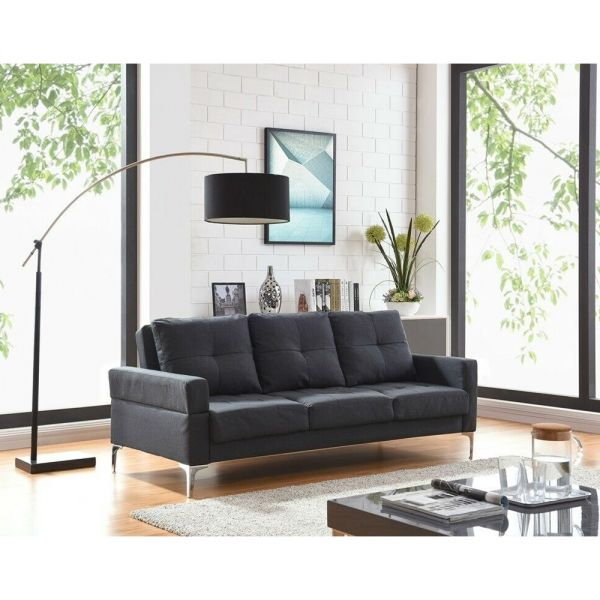 3 Seater Luxury Sofabed Recliner Charcoal / Grey Fabric