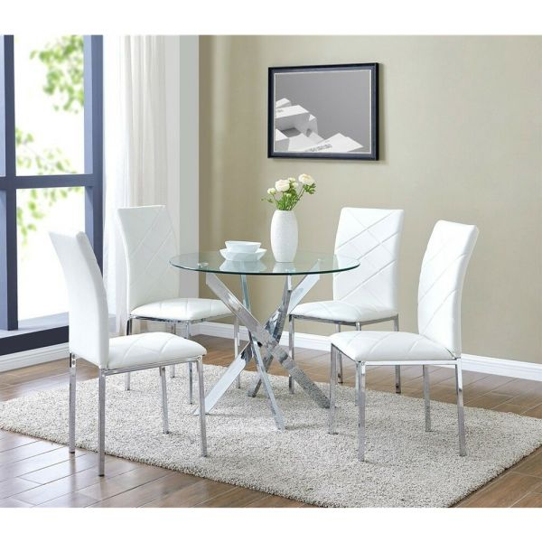 Glass Round Dining Table with 4 White Chairs Faux Leather Chrome Legs