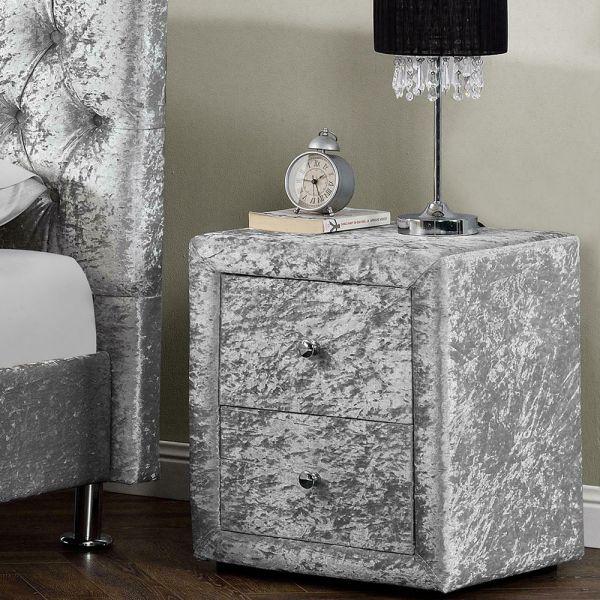 2 Drawer Modern Bedside Table Fabric Silver Crushed Velvet