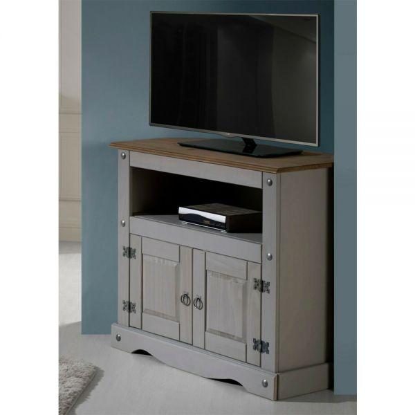 Corona Solid Pine TV Unit Corner - Grey Wax