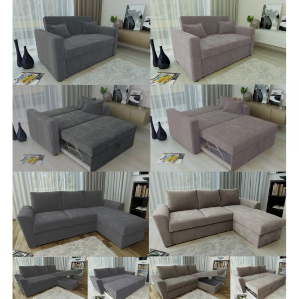 Fabric Ravena L Shape Stanford Pull Out 2 Seater Sofabed  - 2 Colours