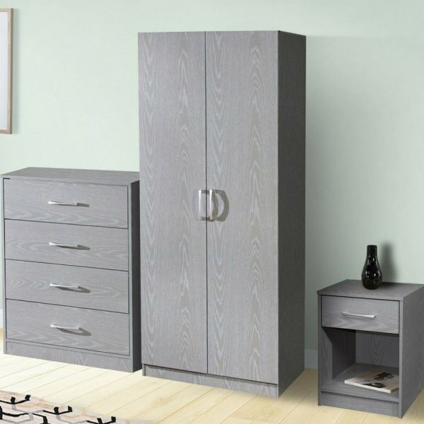 2 Door Wardrobe Chest of Drawers Bedside Table Trio Set