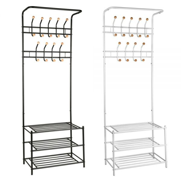 Entryway Metal Hanger Stand Shelves 3 Tier Shoe Rack - 2 Colours