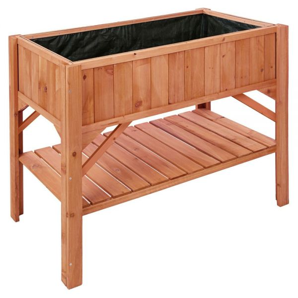Wooden Box Raised Plant Bed Shelf