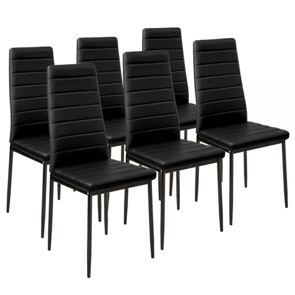 Modern Synthetic Black Leather Dining Chairs - Set of 6