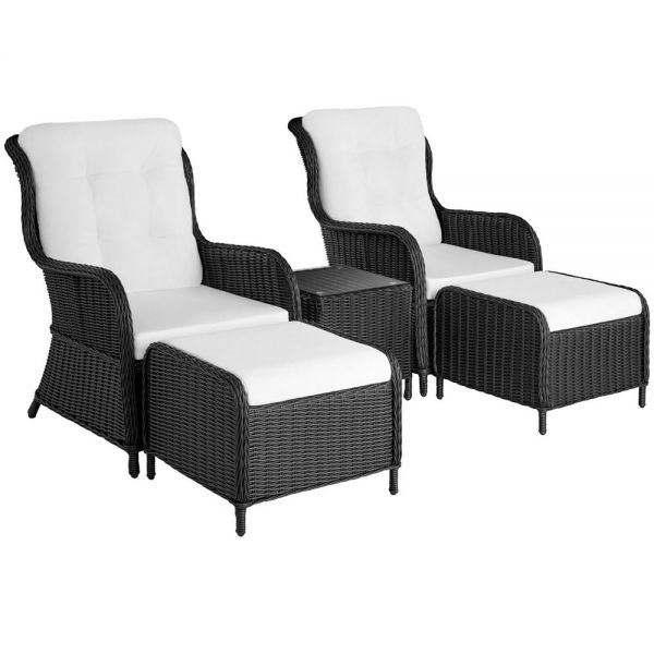 Poly Rattan Garden Chair Table Set with Footstool 5Pcs - 3 Colours